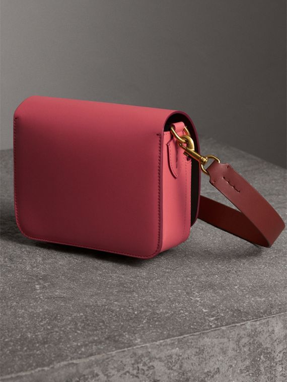 The Square Satchel in Leather in Bright Peony - Women | Burberry United Kingdom - cell image 3