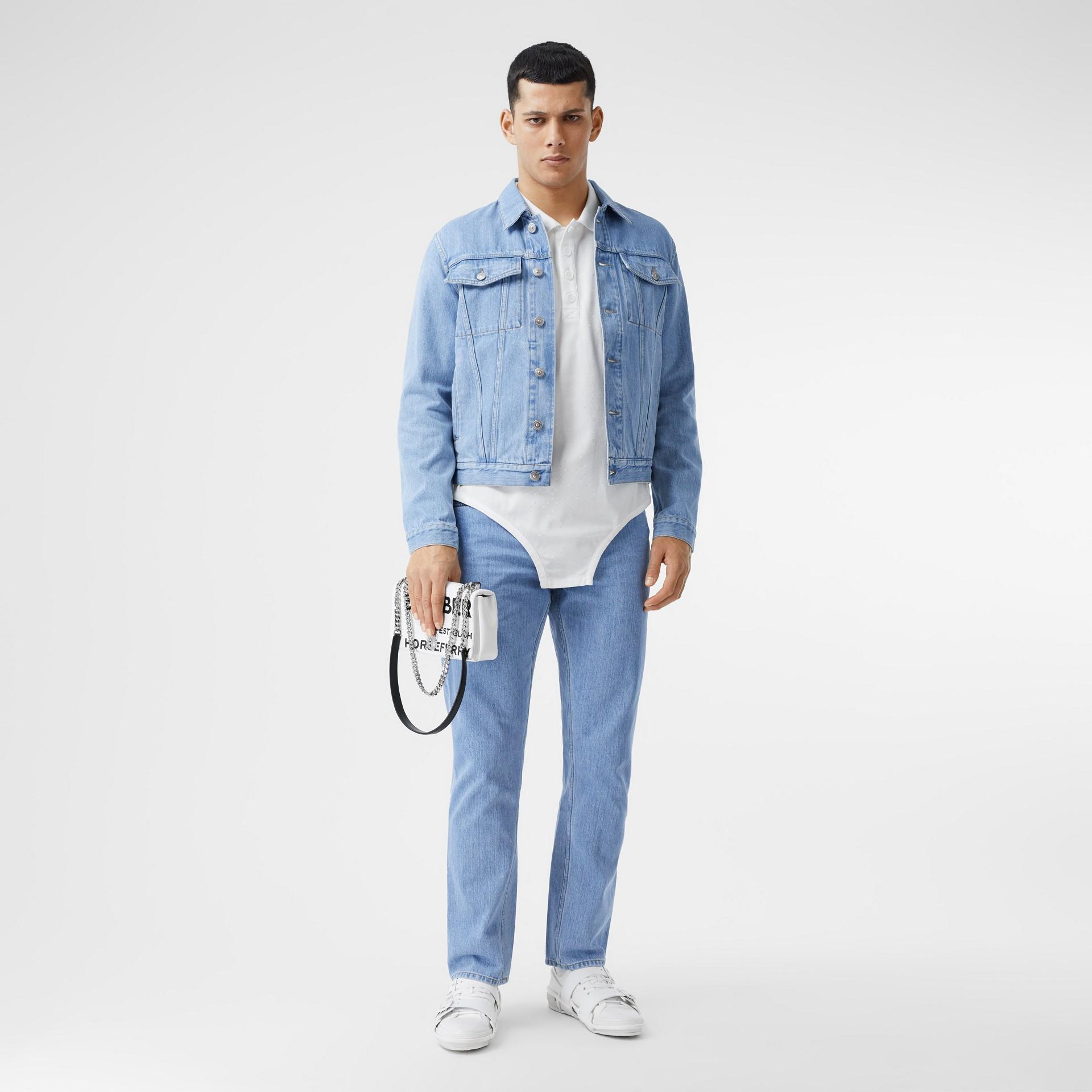 Straight Fit Japanese Denim Jeans in Light Indigo Blue - Men   Burberry - gallery image 0
