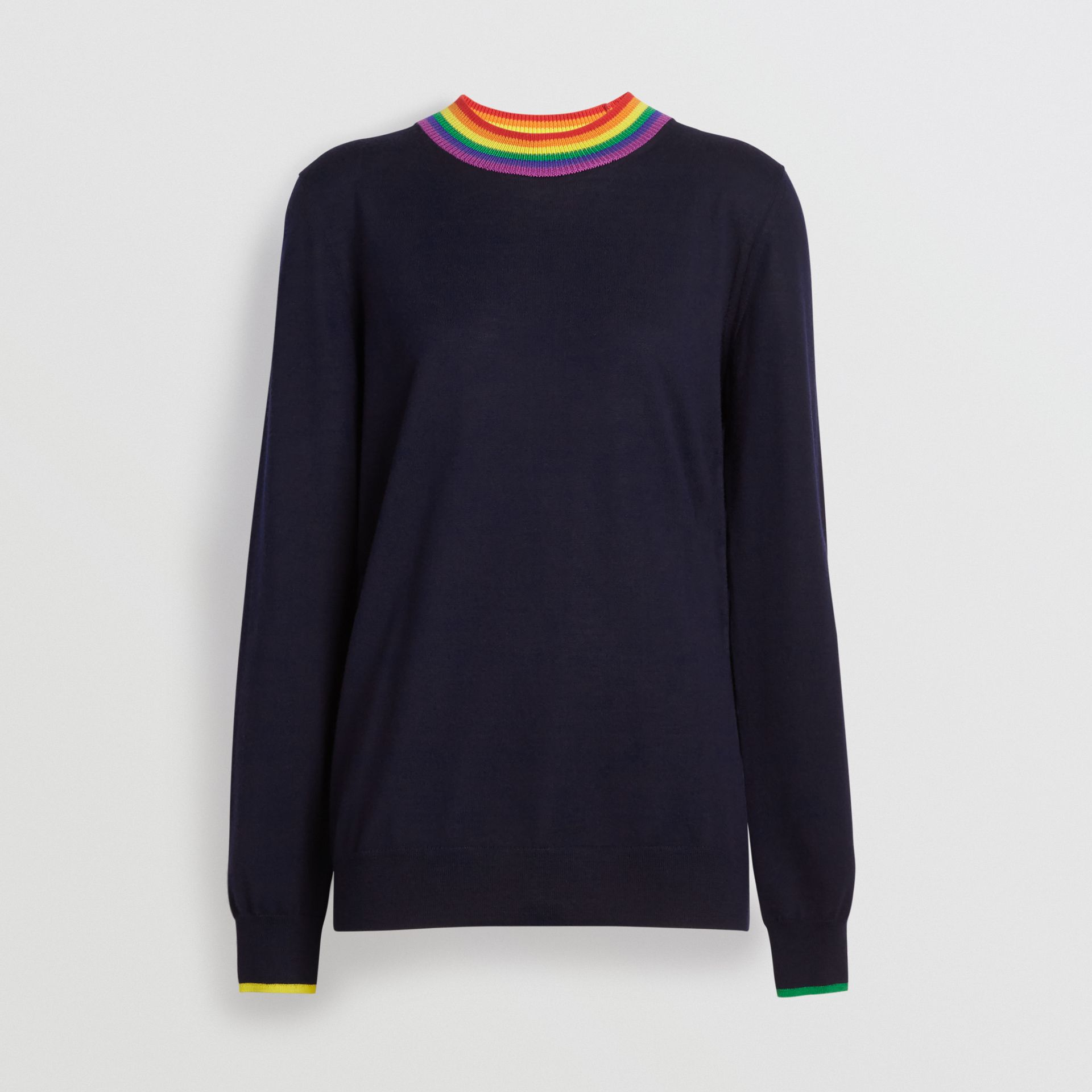 Stripe Detail Wool Sweater in Navy - Women | Burberry United States - gallery image 3
