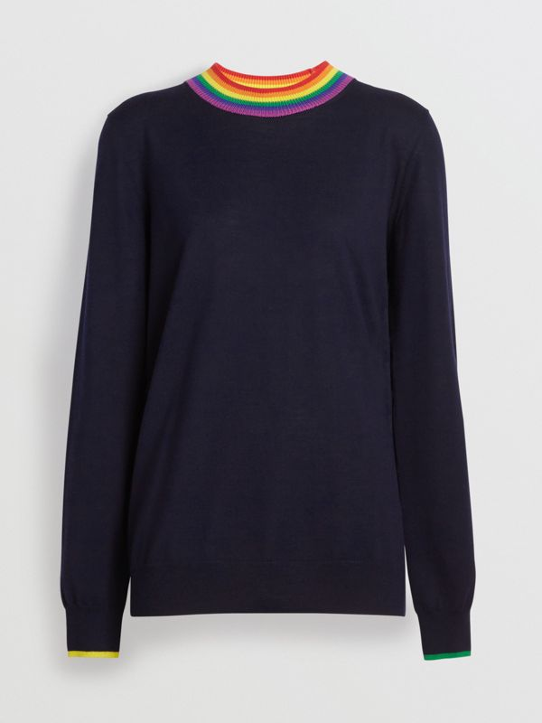 Stripe Detail Wool Sweater in Navy - Women | Burberry - cell image 3