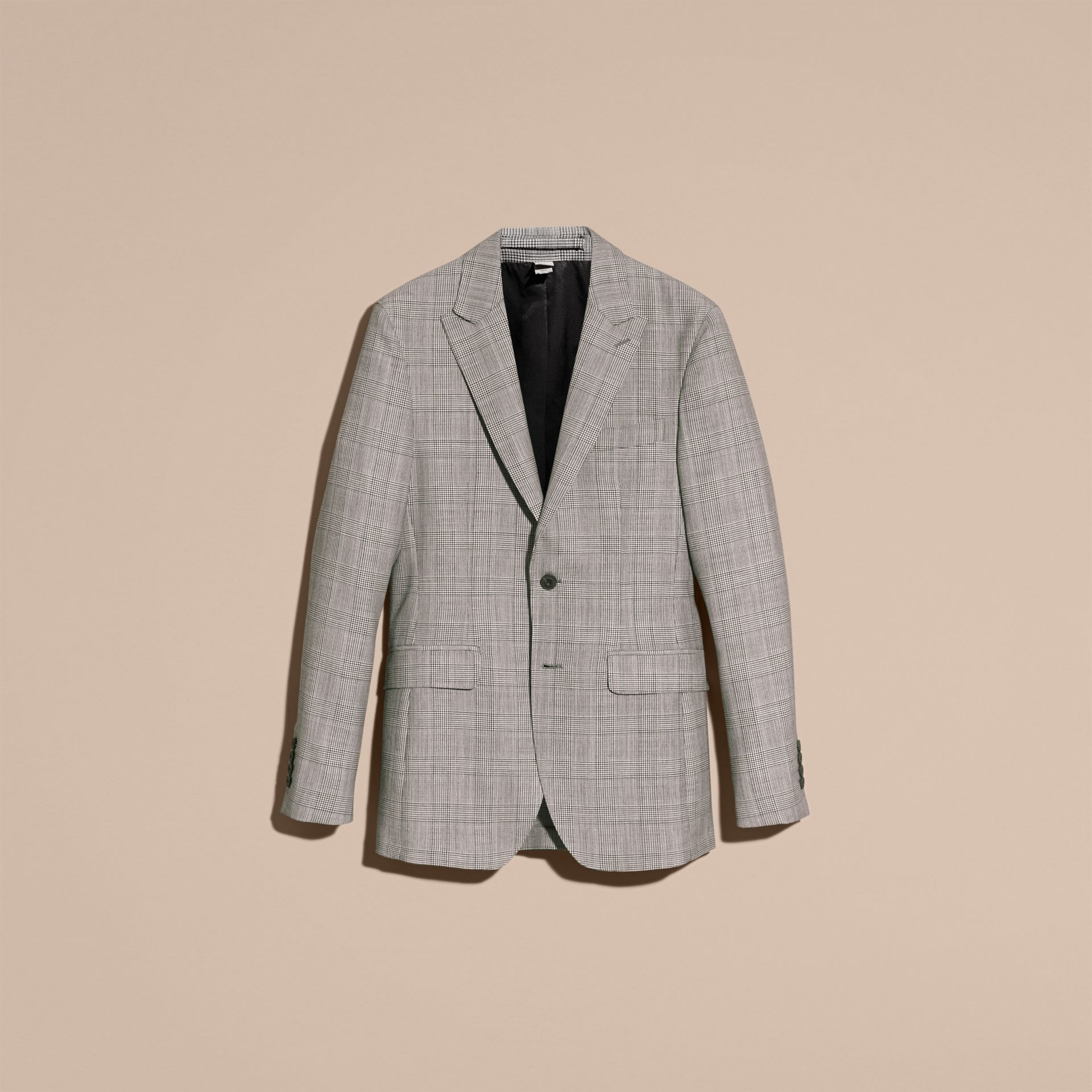 Pale grey Slim Fit Prince of Wales Check Wool Half-canvas Suit - gallery image 4