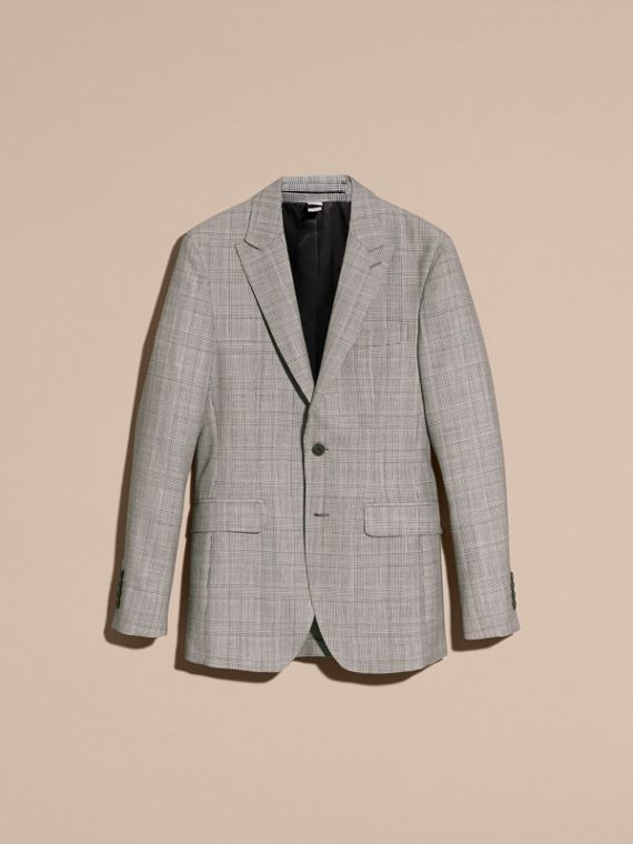 Pale grey Slim Fit Prince of Wales Check Wool Half-canvas Suit - cell image 3