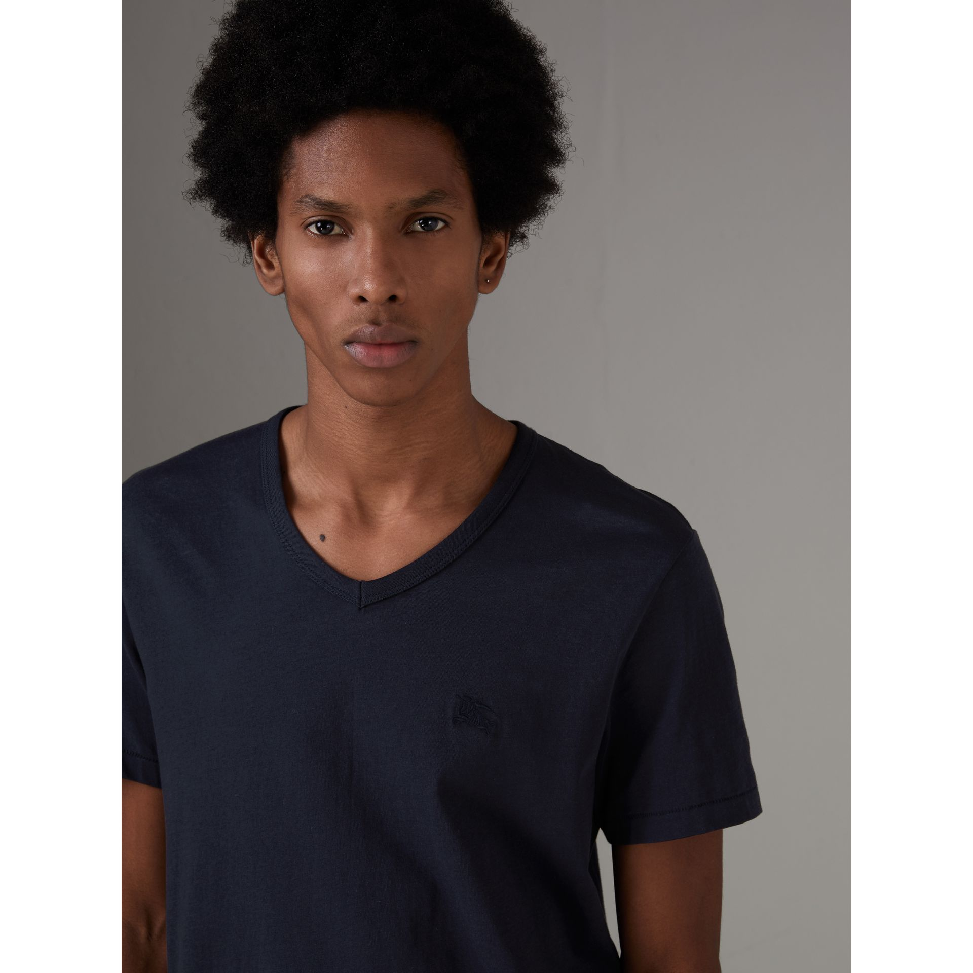 Cotton Jersey T-shirt in Navy - Men | Burberry Canada - gallery image 1