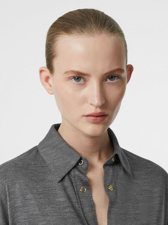 Panelled-sleeve Wool Shirt in Flint - Women | Burberry - cell image 1