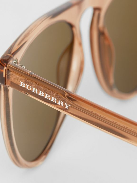 Keyhole D-shaped Sunglasses in Brown - Men | Burberry Hong Kong - cell image 1