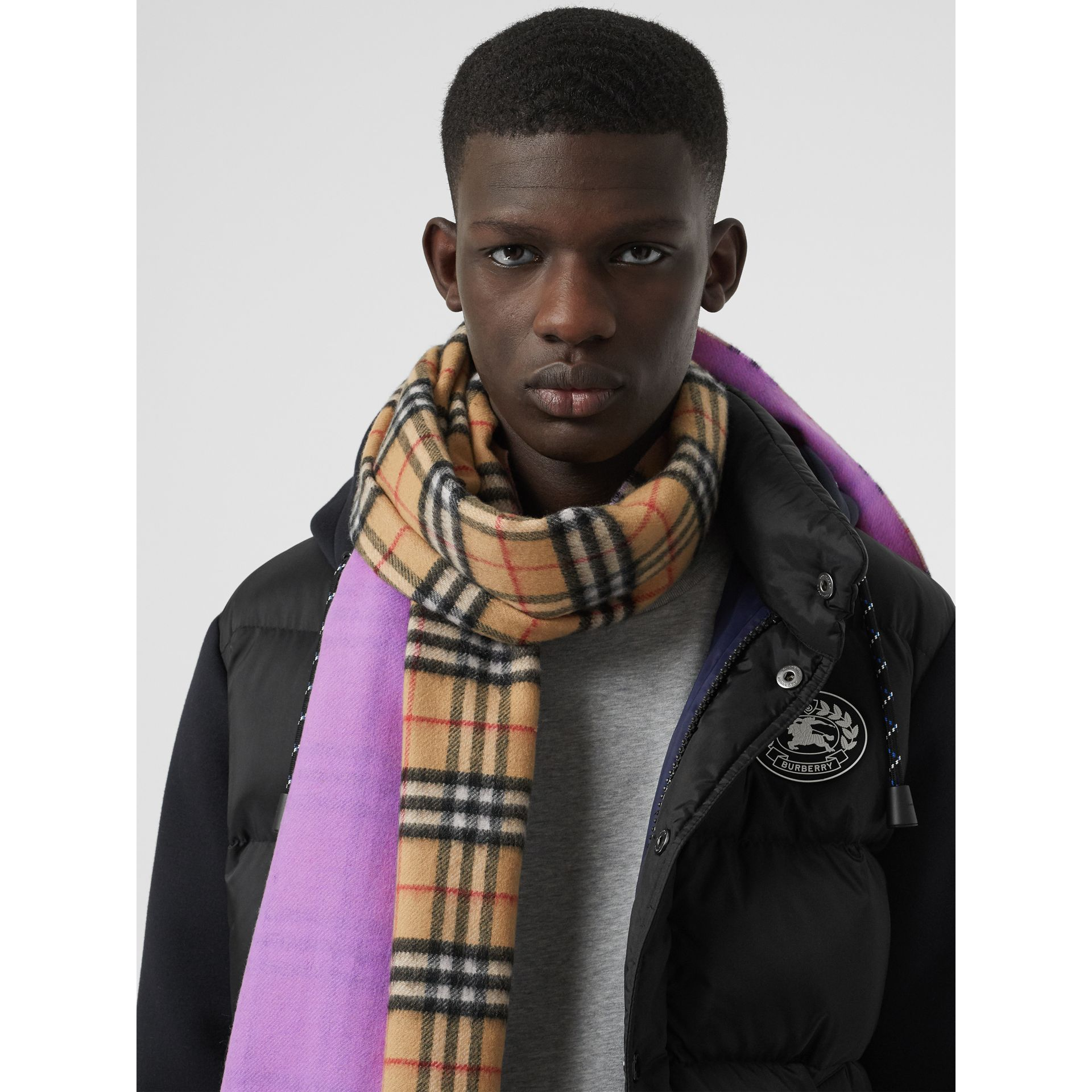 Colour Block Vintage Check Cashmere Scarf in Bright Lilac | Burberry Canada - gallery image 6
