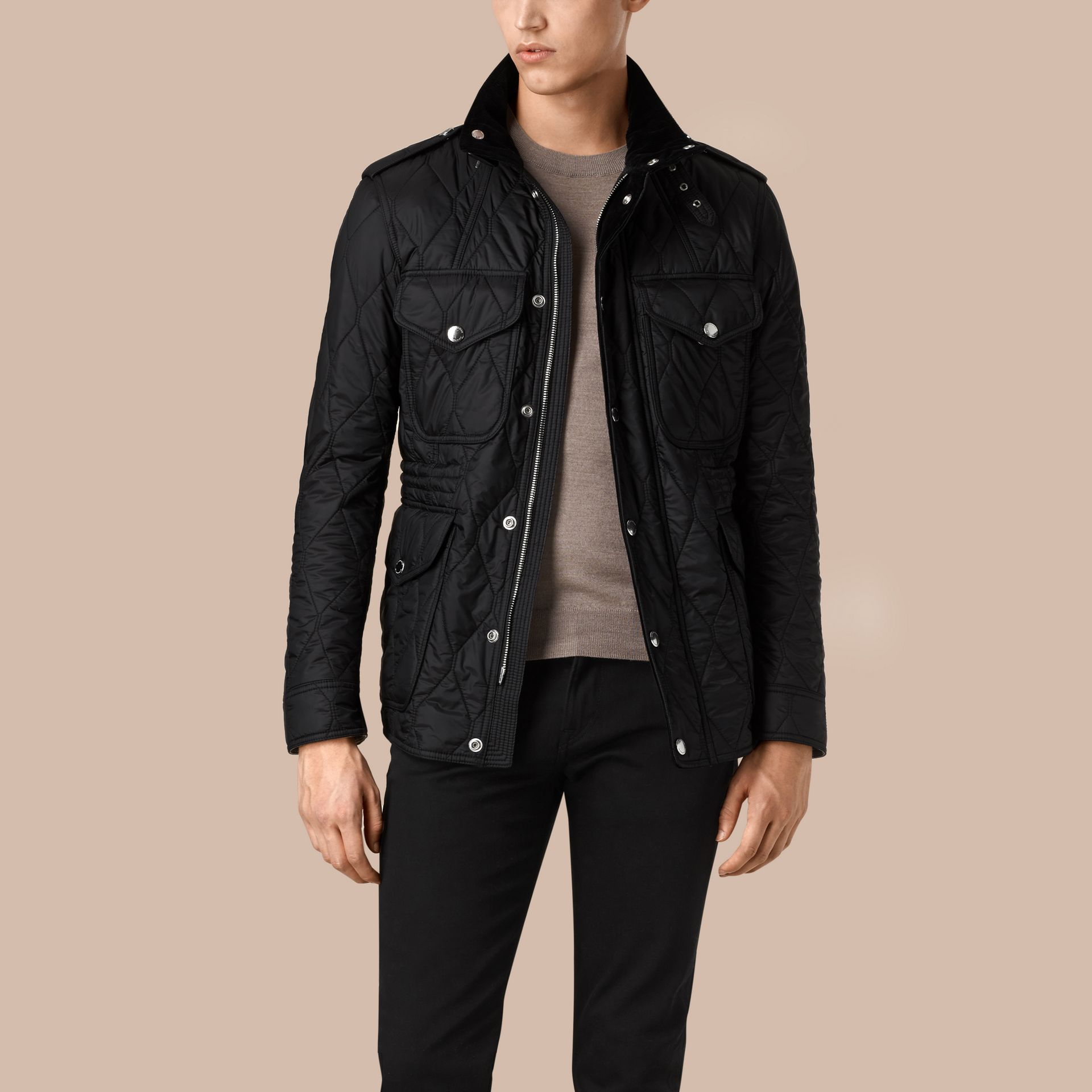 Diamond Quilted Field Jacket in Black - gallery image 3