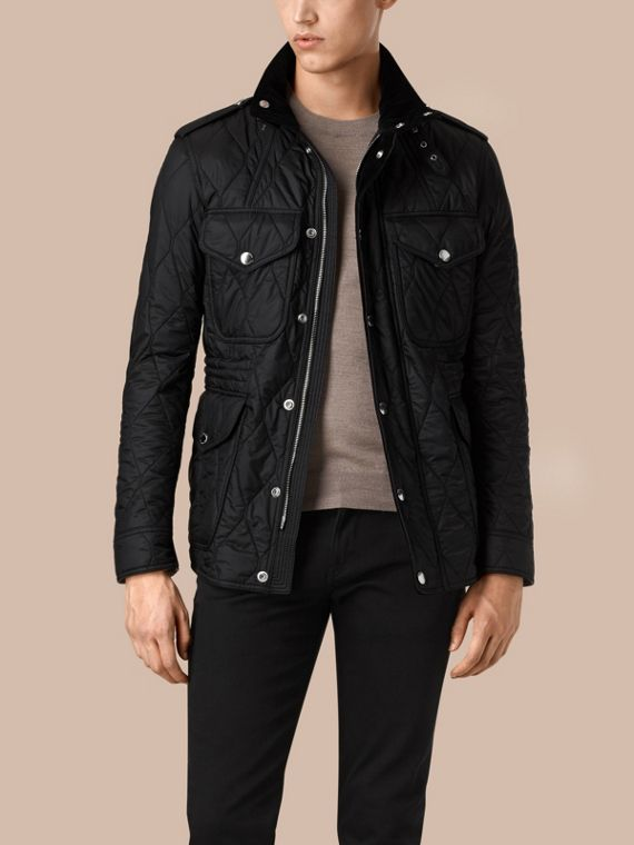 Diamond Quilted Field Jacket in Black - cell image 2