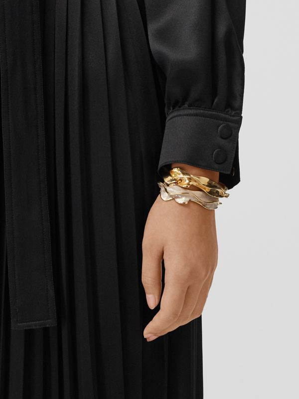 Enamel and Gold-plated Sculpted Cuff in Light - Women | Burberry - cell image 2