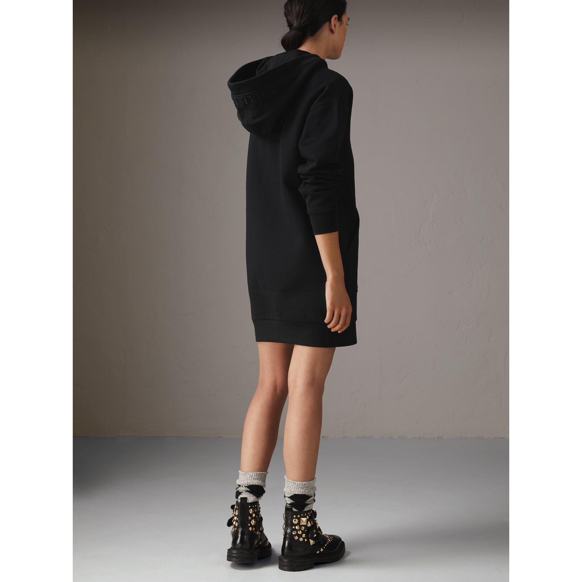Embroidered Hood Sweatshirt Dress in Black - Women | Burberry United States - gallery image 2