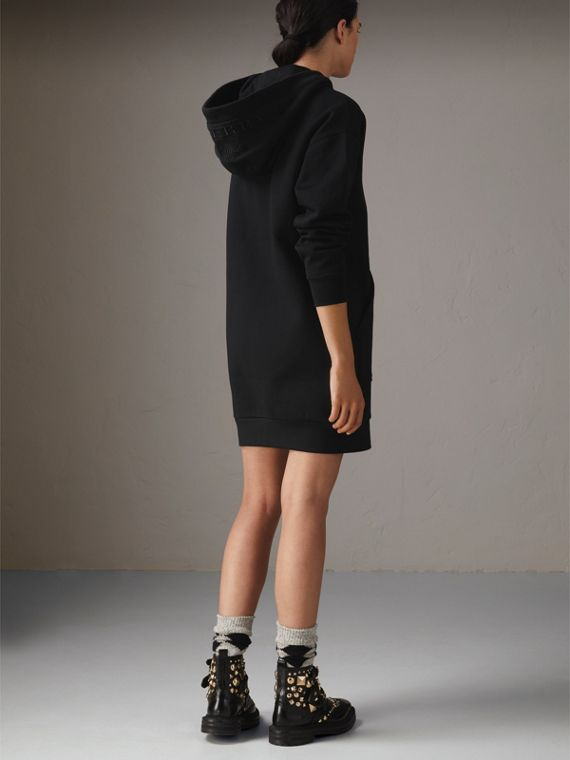 Embroidered Hood Sweatshirt Dress in Black - Women | Burberry - cell image 2
