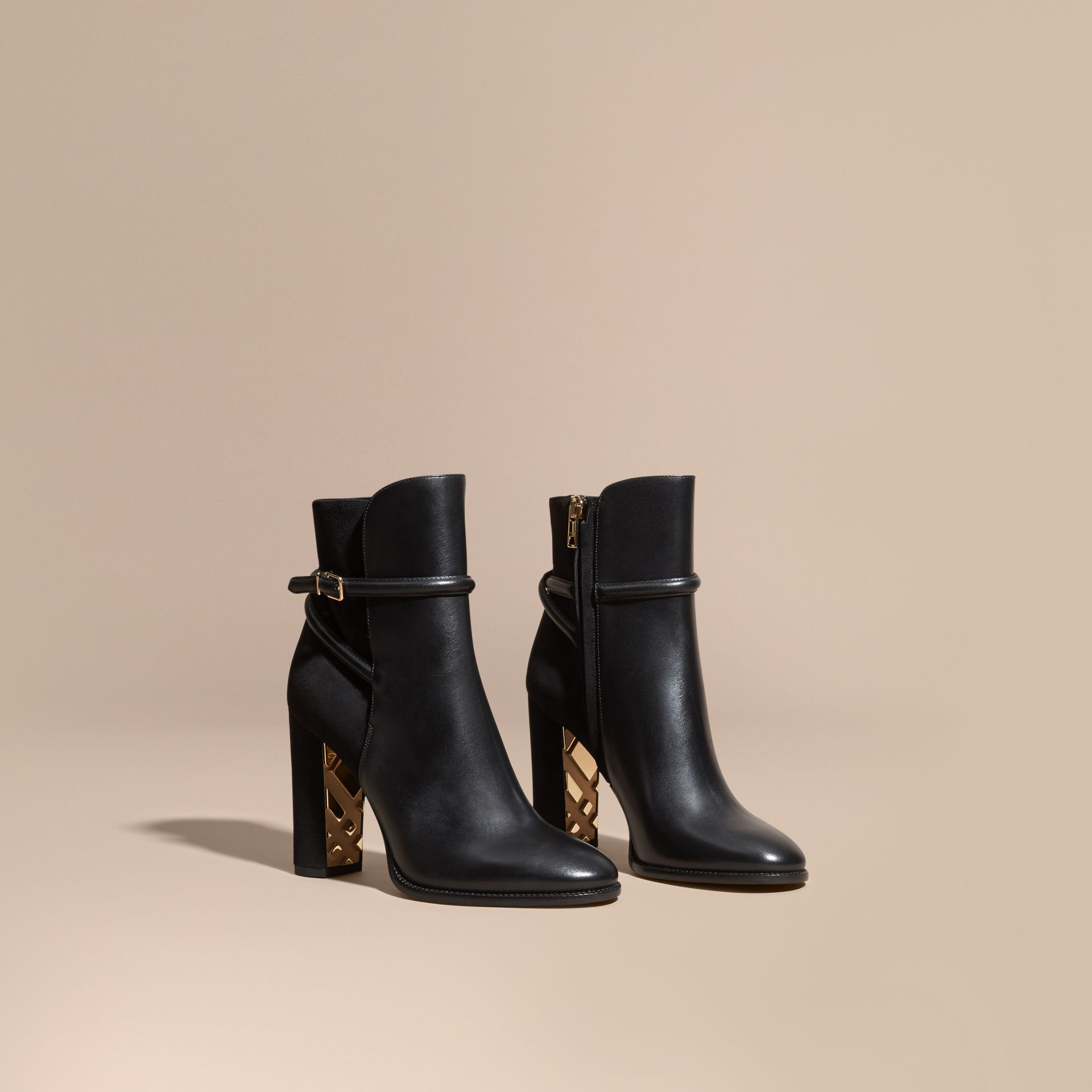 Black Strap Detail Leather and Suede Ankle Boots Black - gallery image 1