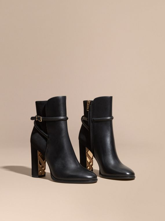 Strap Detail Leather and Suede Ankle Boots