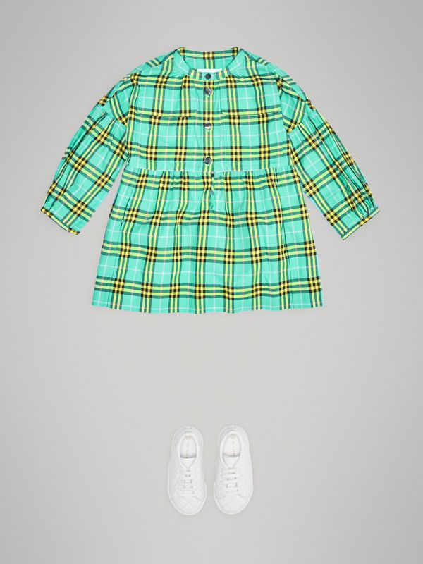 Check Cotton Flannel Dress in Bright Turquoise | Burberry Australia - cell image 2