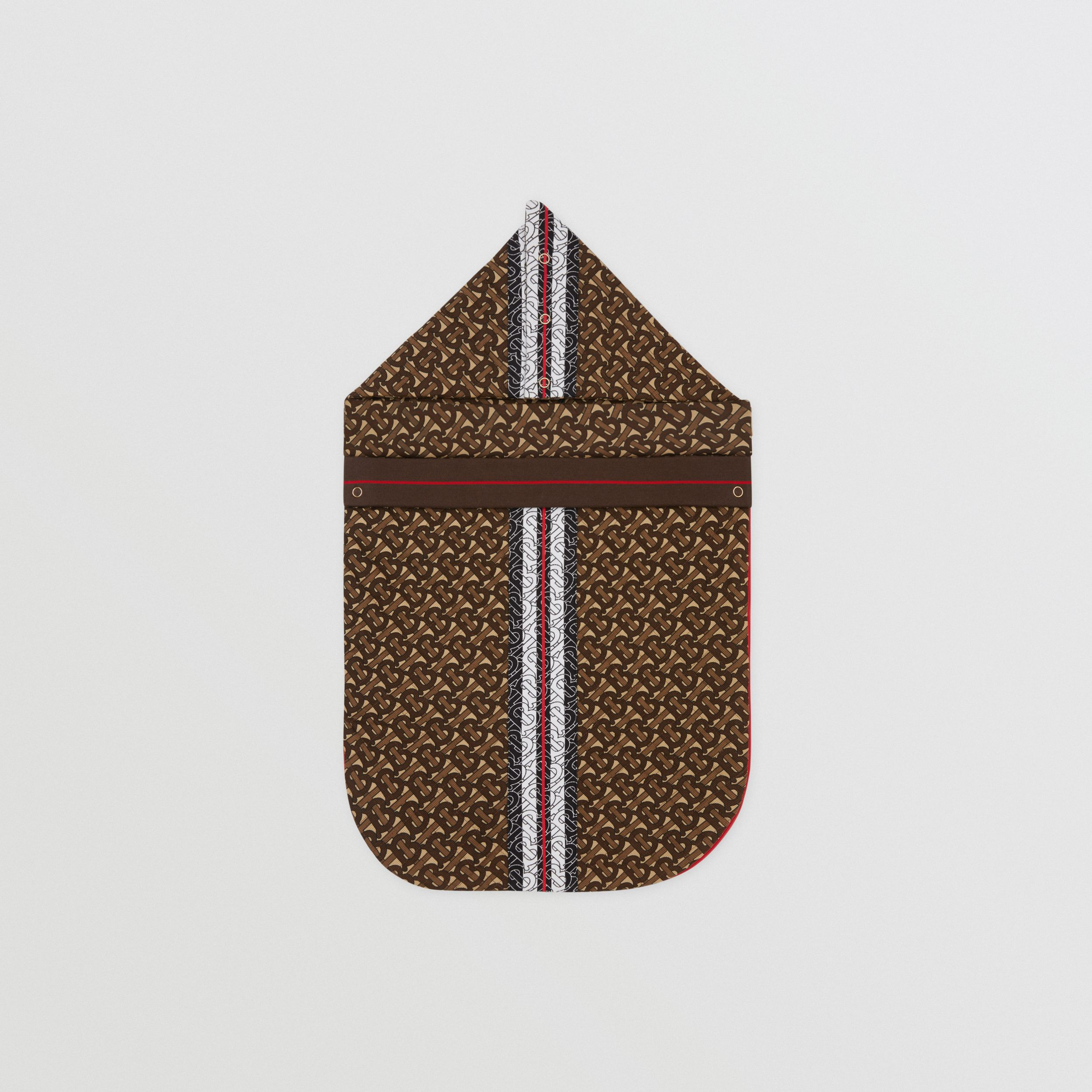 Monogram Stripe Print Cotton Piqué Baby Nest in Bridle Brown - Children | Burberry - 3