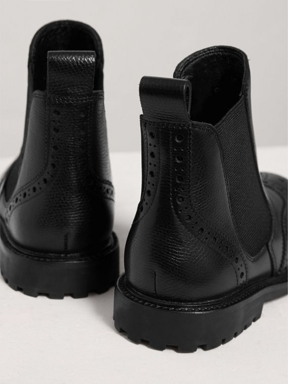 Leather Brogue Chelsea Boots in Charcoal/red | Burberry United Kingdom - cell image 2