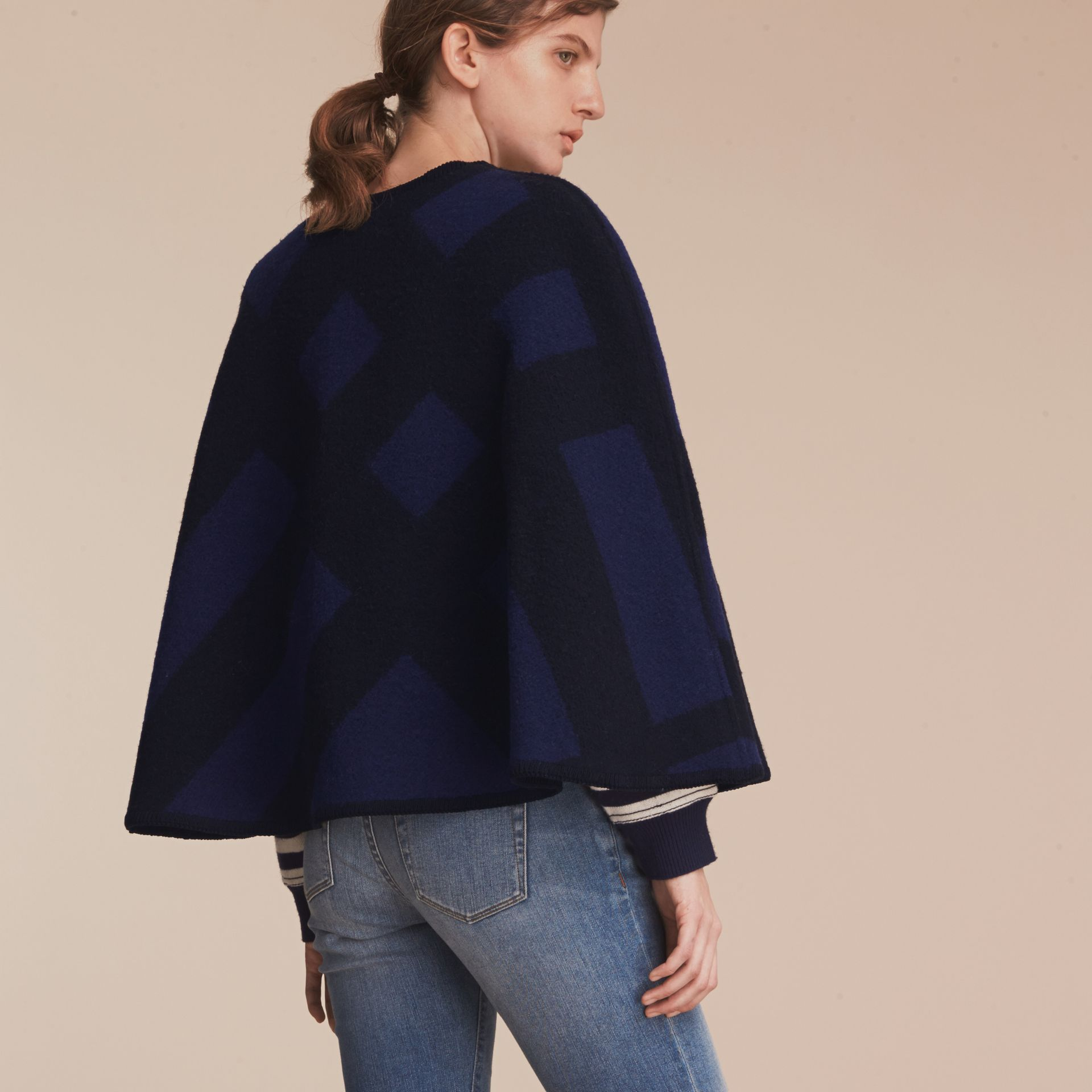 Check Wool Cashmere Blanket Cape in Navy - Women | Burberry Hong Kong - gallery image 3