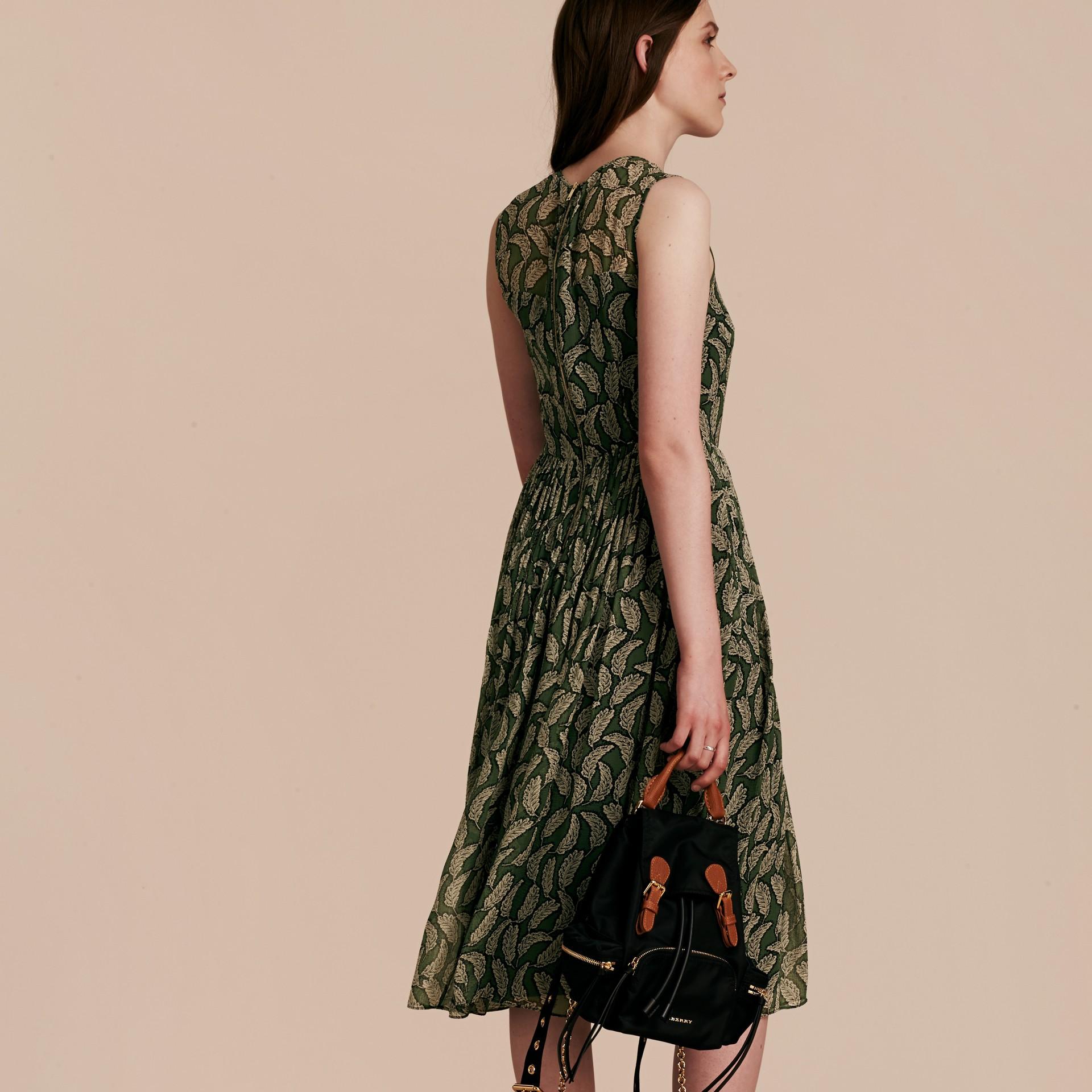 Dusty green Leaf Print Silk Midi Dress - gallery image 3
