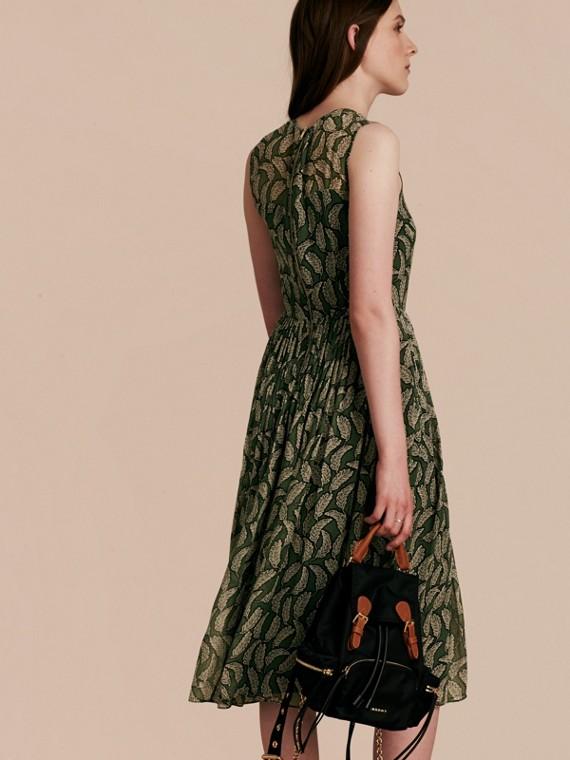 Dusty green Leaf Print Silk Midi Dress - cell image 2