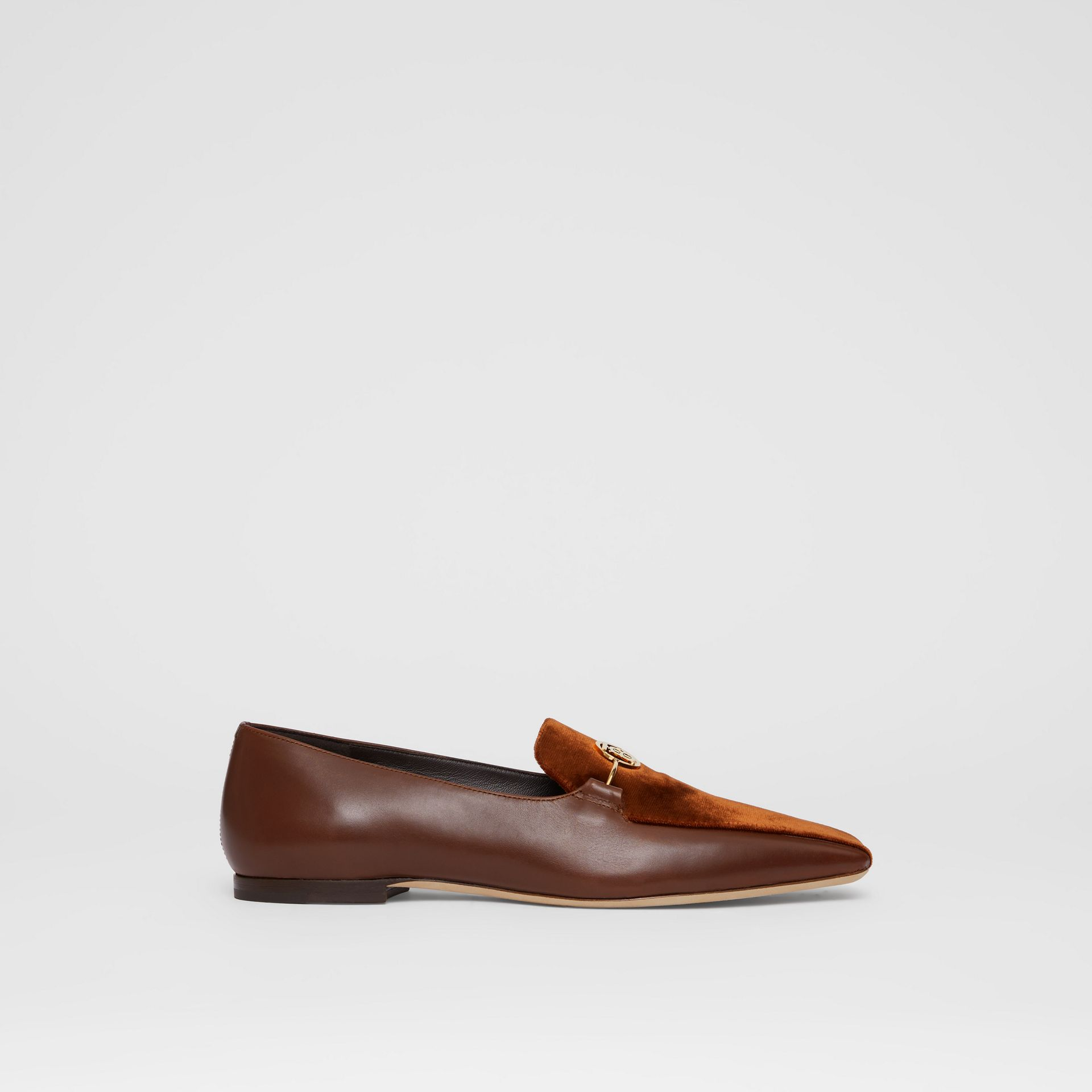 Monogram Motif Velvet and Leather Loafers in Dark Chocolate/tan - Women | Burberry - gallery image 5