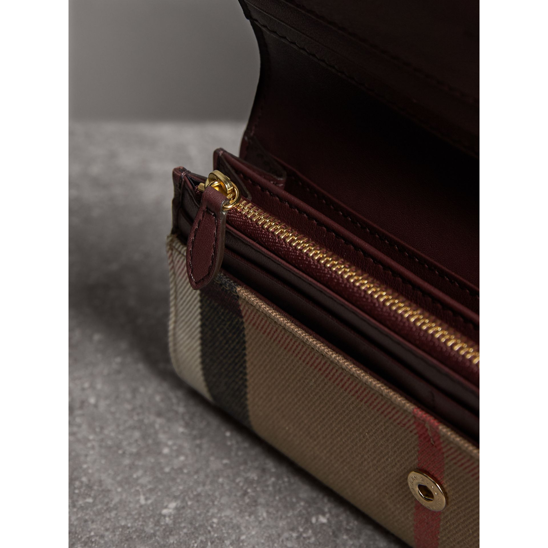 House Check And Leather Continental Wallet in Mahogany Red - Women | Burberry - gallery image 3