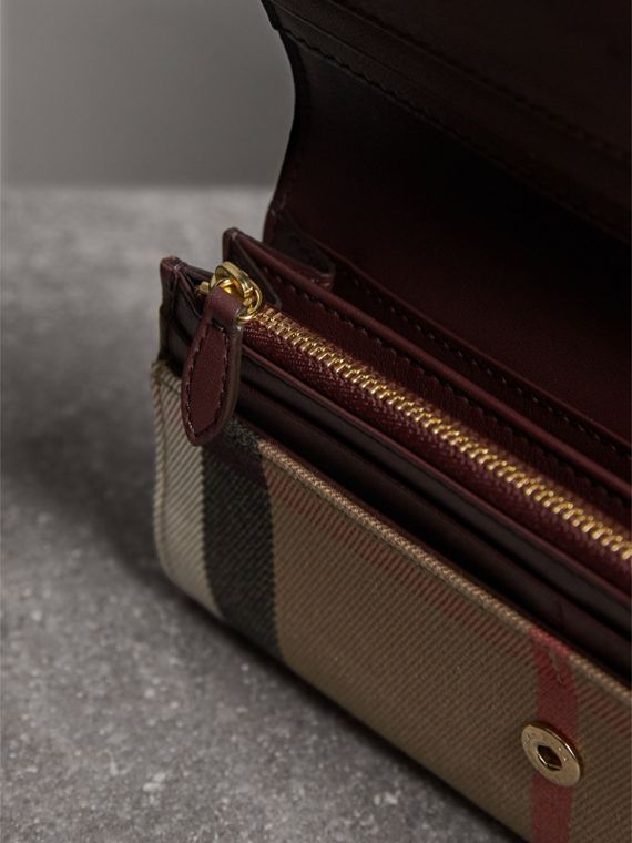House Check And Leather Continental Wallet in Mahogany Red - Women | Burberry - cell image 3
