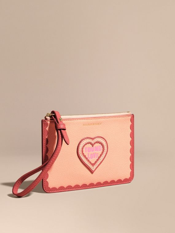 Young Love Motif Grainy Leather Wristlet