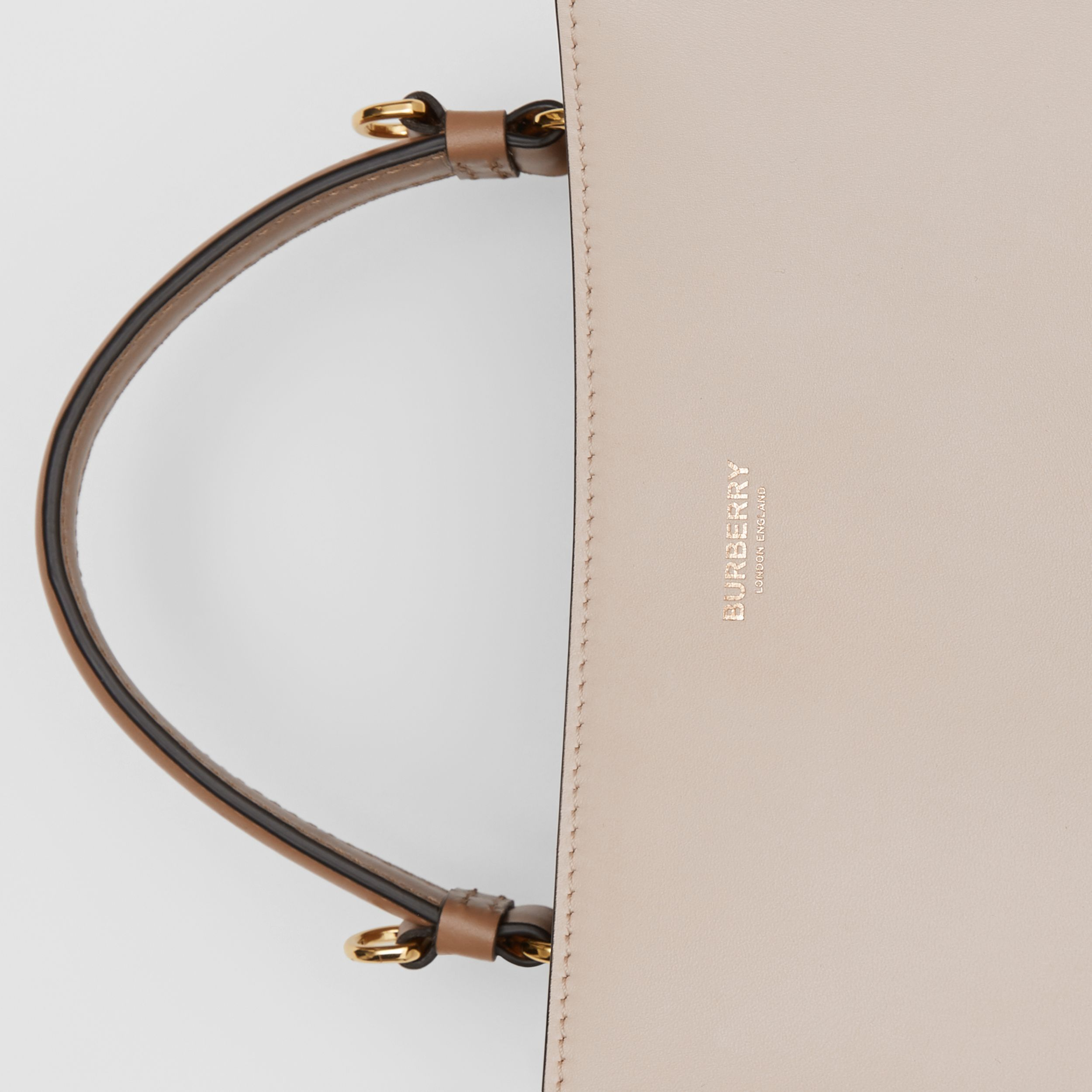 Small Two-tone Leather Peggy Bucket Bag in Buttermilk - Women | Burberry - 2