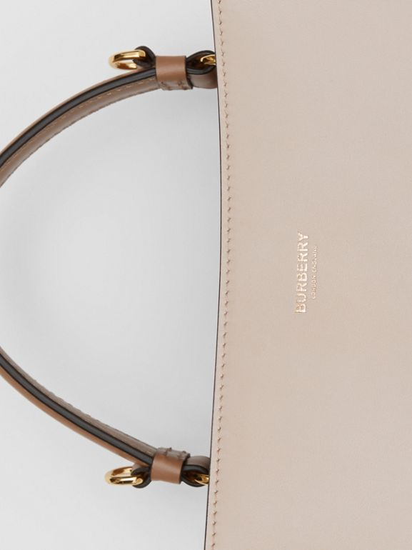 Small Two-tone Leather Peggy Bucket Bag in Buttermilk - Women | Burberry - cell image 1