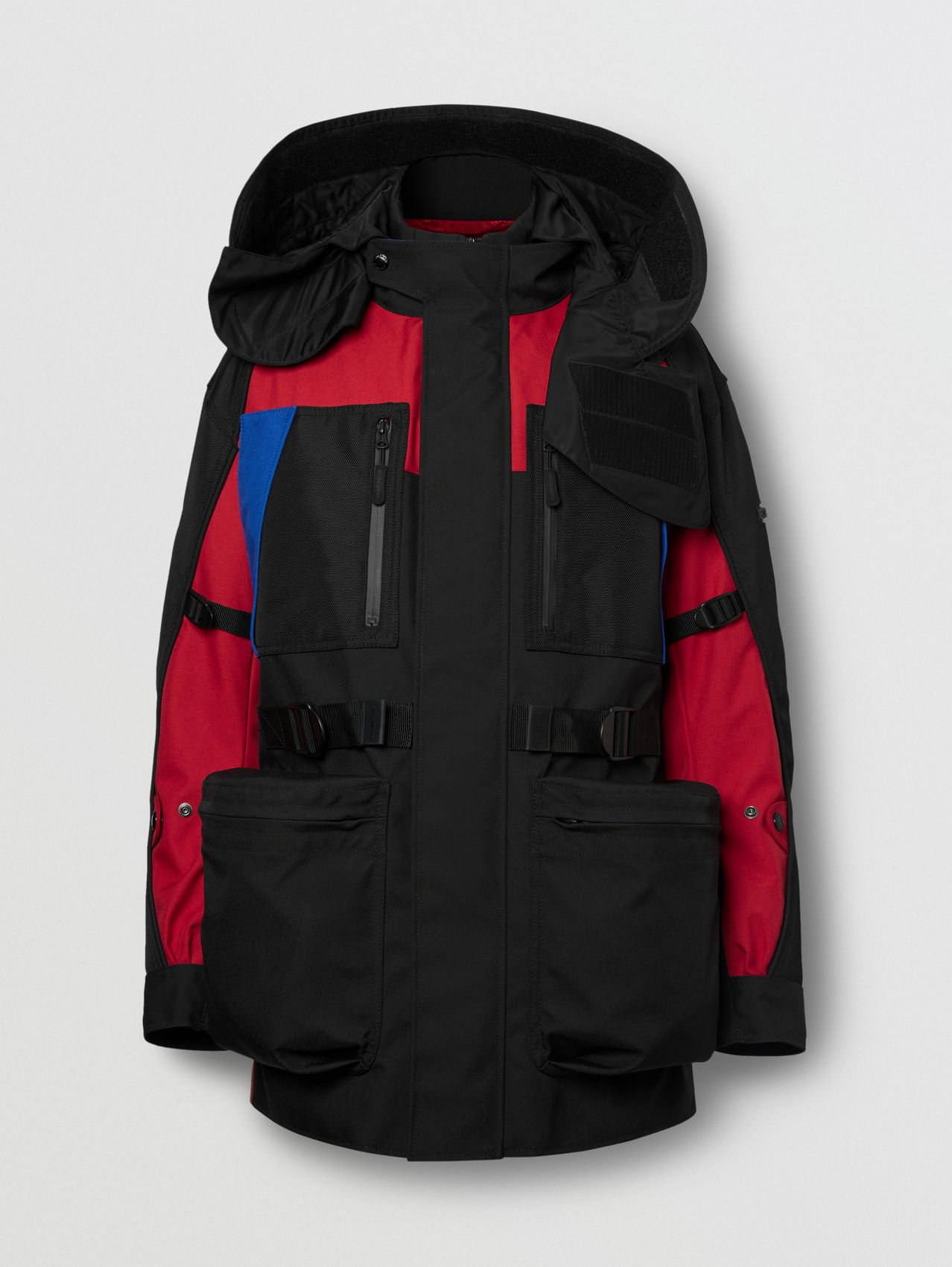 Colour Block Nylon Jacket with Detachable Puffer in Black