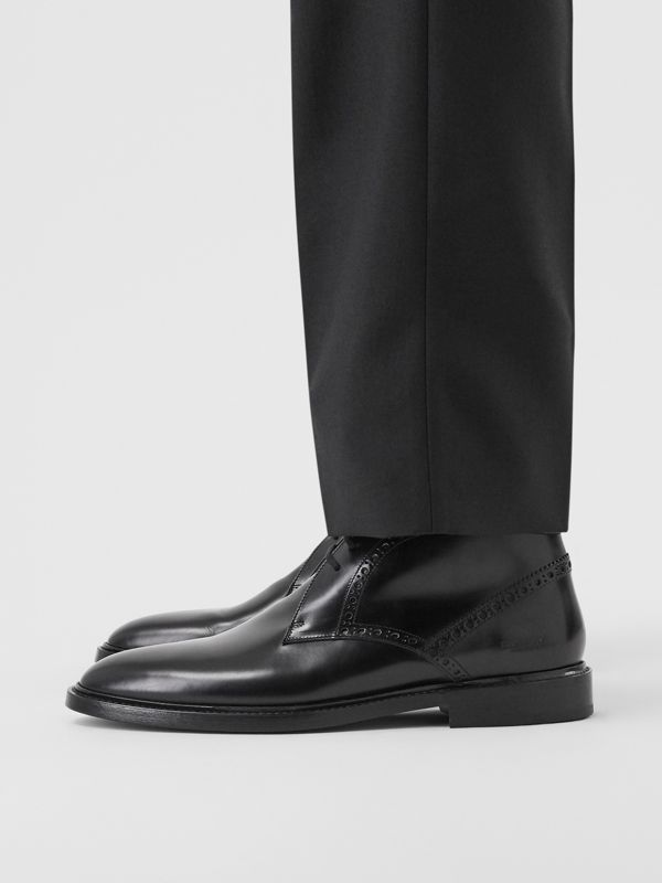 Brogue Detail Leather Boots in Black - Men | Burberry - cell image 2