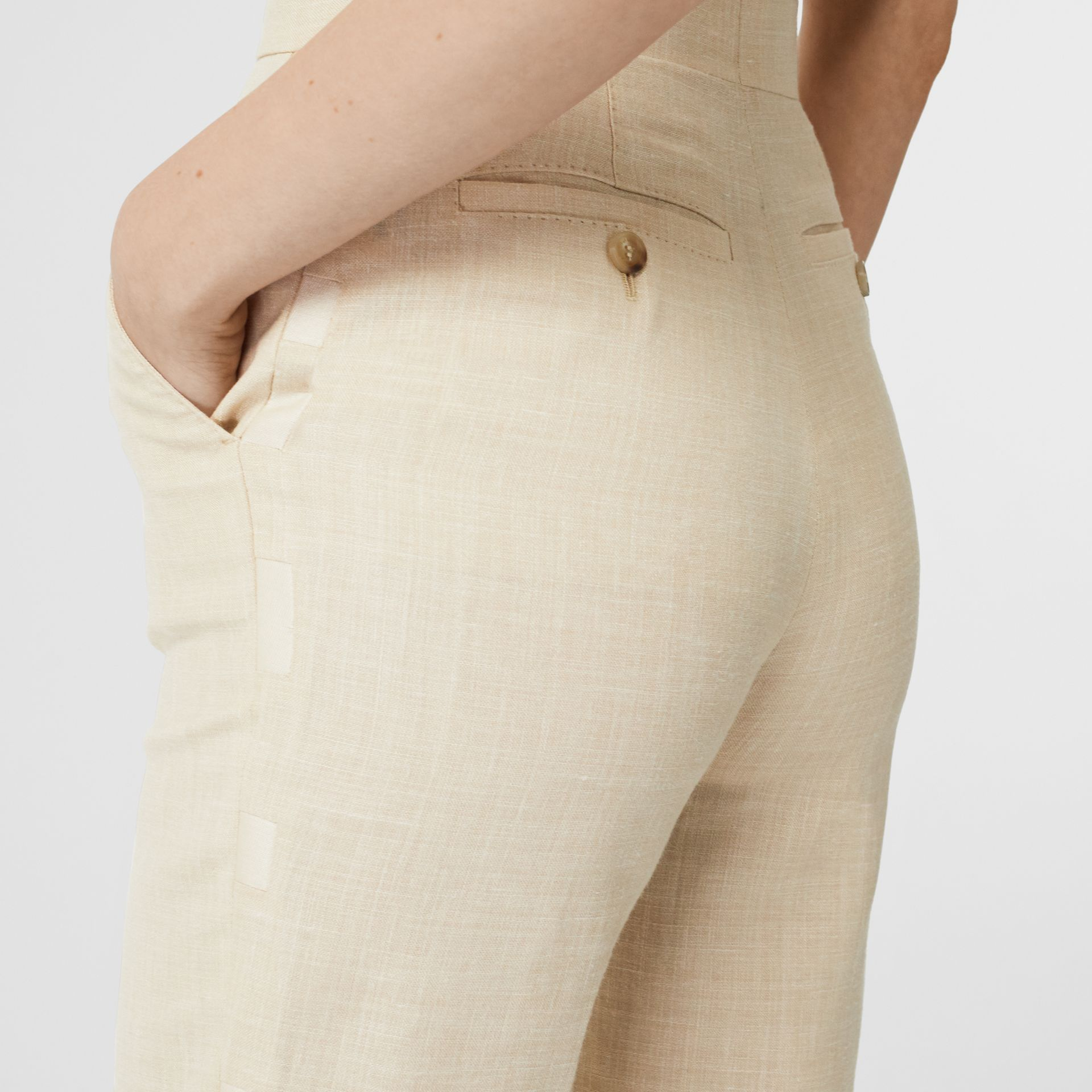 Stripe Detail Wool Silk Linen Tailored Trousers in Sesame - Women | Burberry Canada - gallery image 1
