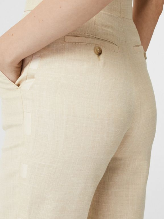 Stripe Detail Wool Silk Linen Tailored Trousers in Sesame - Women | Burberry Canada - cell image 1