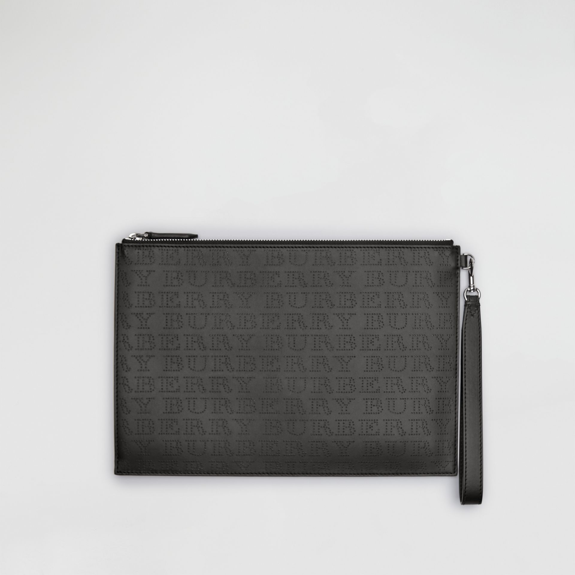 Perforated Logo Leather Zip Pouch in Black | Burberry Australia - gallery image 0