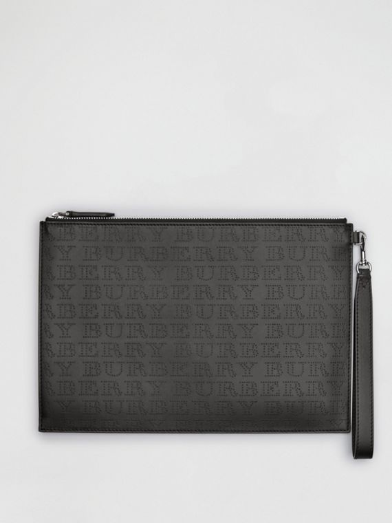 Perforated Logo Leather Zip Pouch in Black