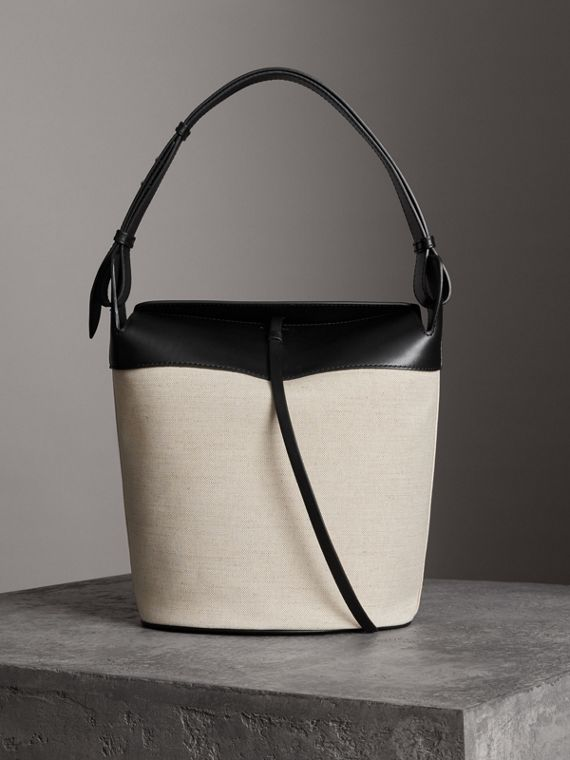 The Large Cotton Linen and Leather Bucket Bag in Black