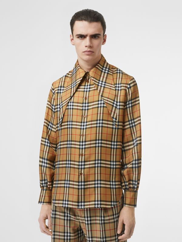 Oversized Collar Silk Twill Shirt in Antique Yellow | Burberry - cell image 3