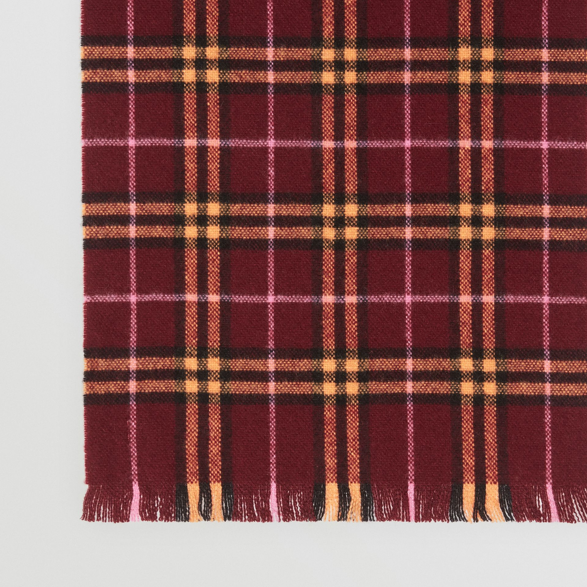 Check Cashmere Scarf in Dark Crimson | Burberry United Kingdom - gallery image 1