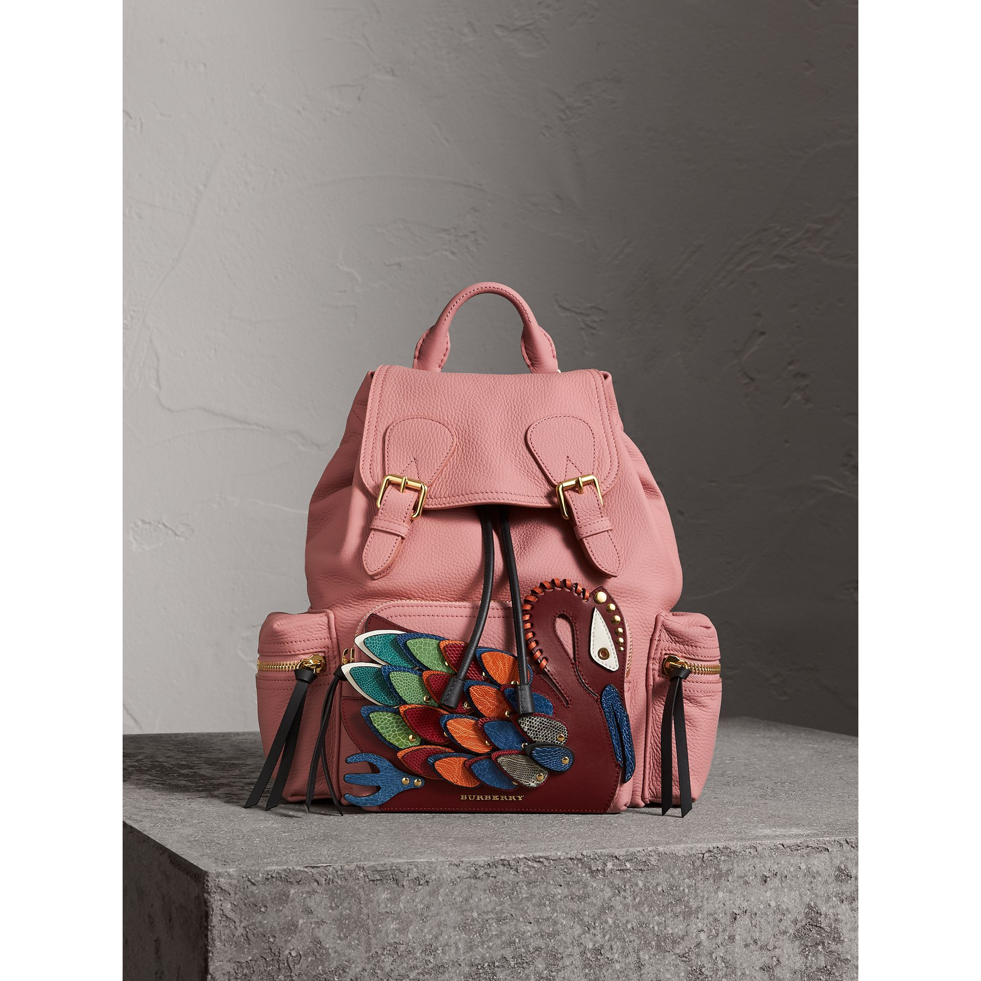 The Medium Rucksack in Deerskin with Beasts Motif in Blossom Pink - Women | Burberry - gallery image 1