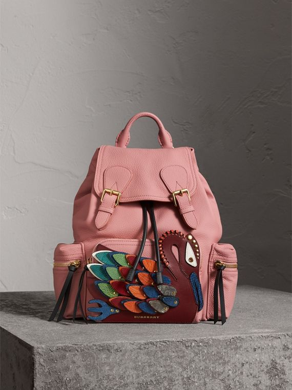 The Medium Rucksack in Deerskin with Beasts Motif in Blossom Pink