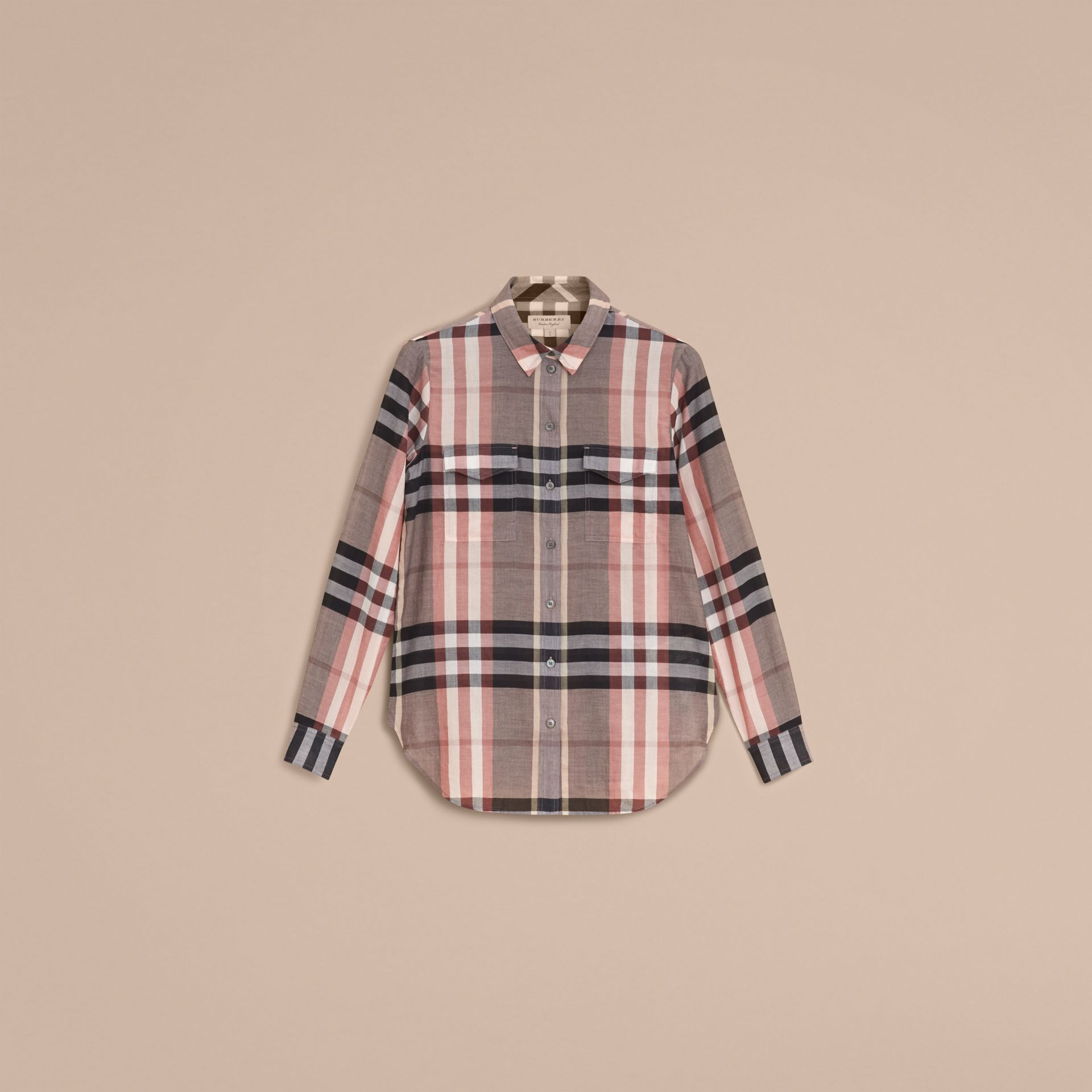 Check Cotton Shirt in Dusty Pink - Women | Burberry Singapore - gallery image 4