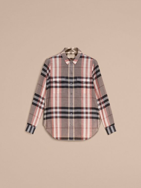 Check Cotton Shirt in Dusty Pink - Women | Burberry - cell image 3