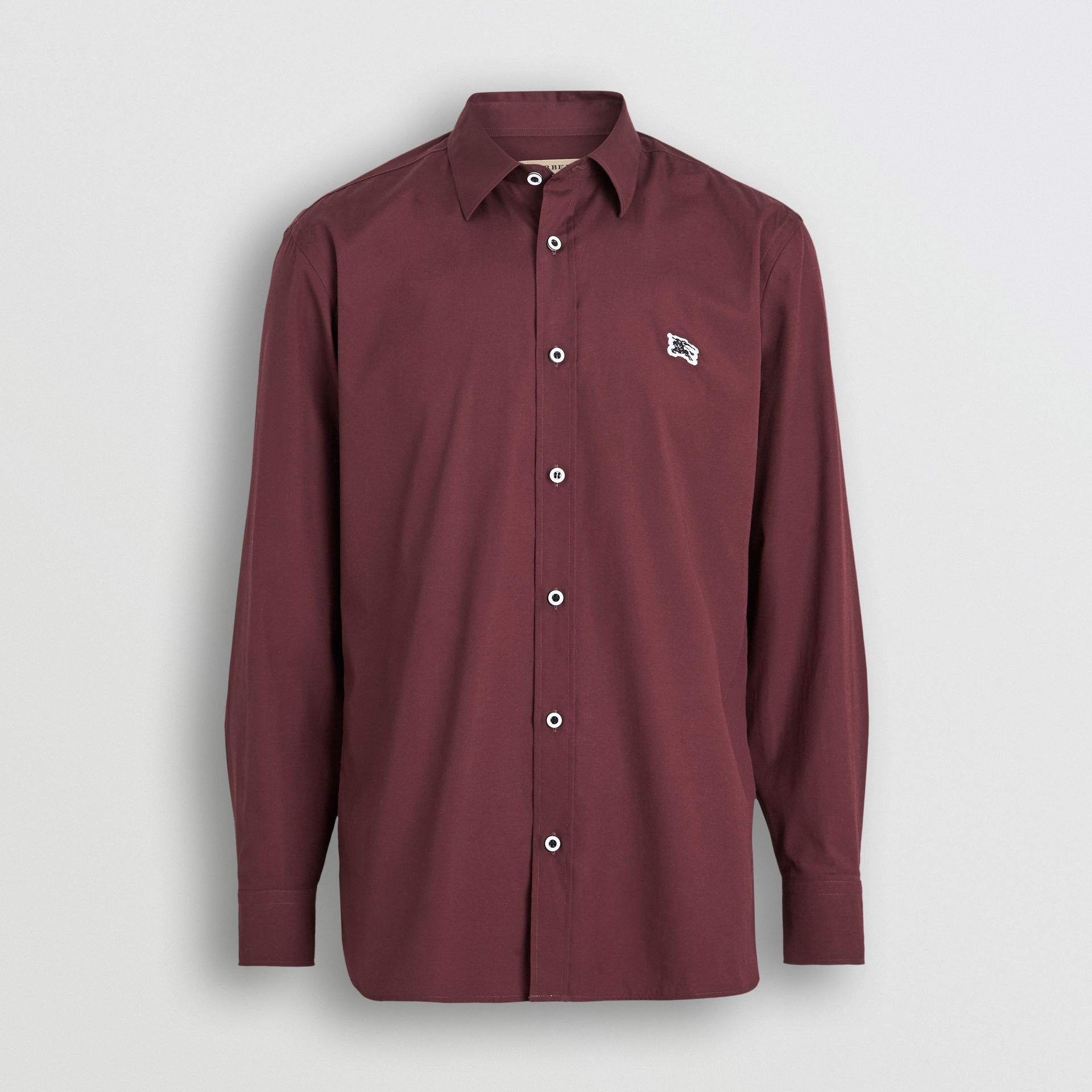Contrast Button Stretch Cotton Shirt in Oxblood - Men | Burberry United Kingdom - gallery image 3