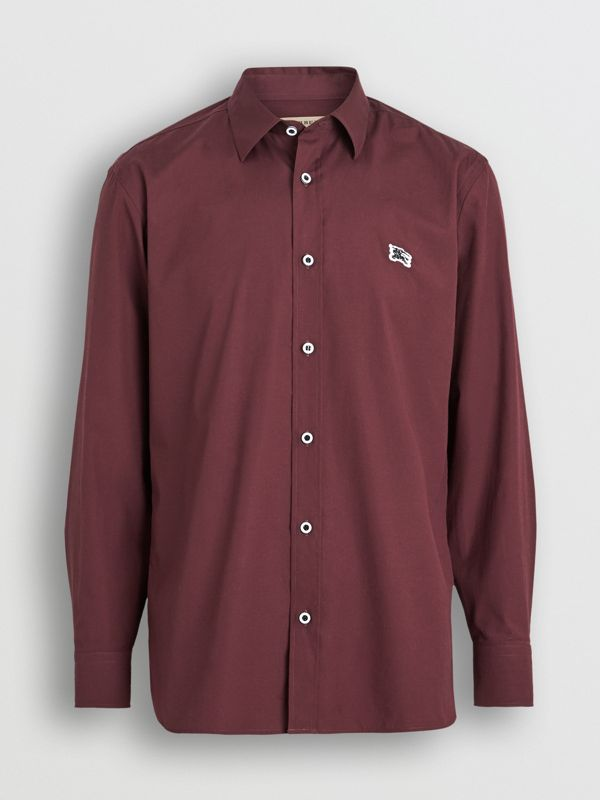 Contrast Button Stretch Cotton Shirt in Oxblood - Men | Burberry - cell image 3