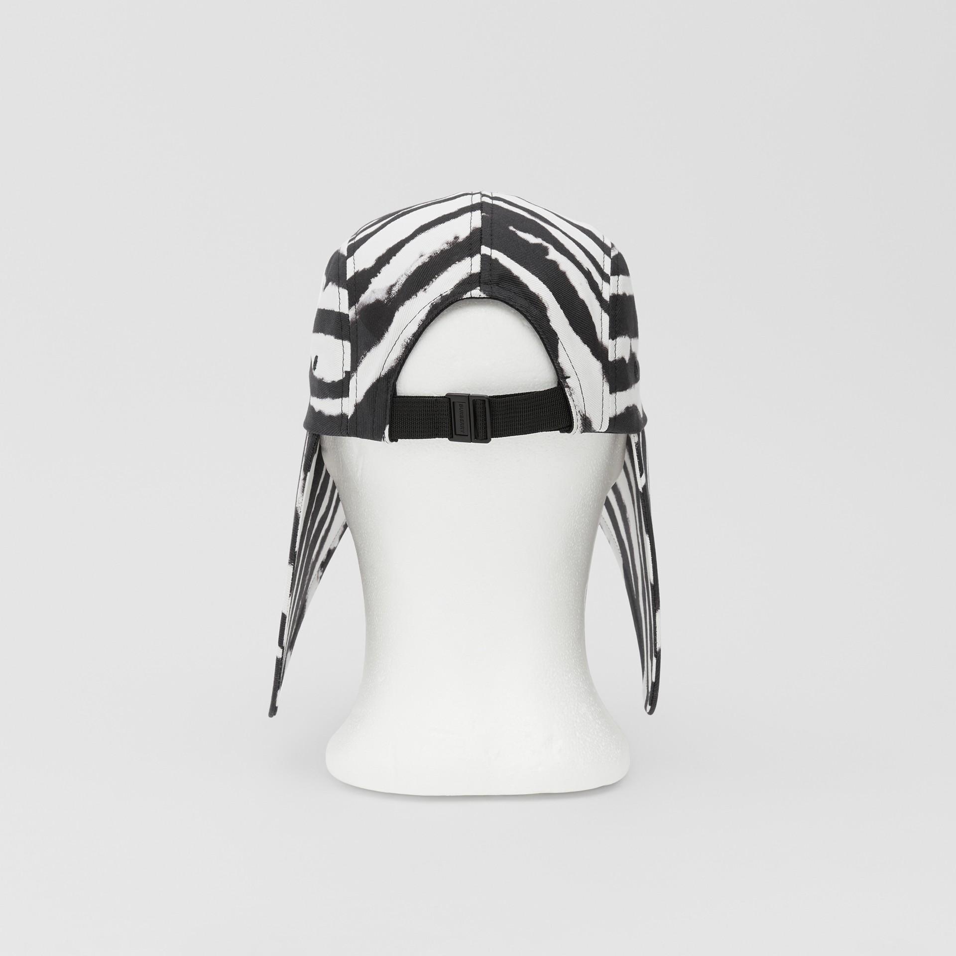 Watercolour Print Cotton Bonnet Cap in Black/white | Burberry United States - gallery image 8