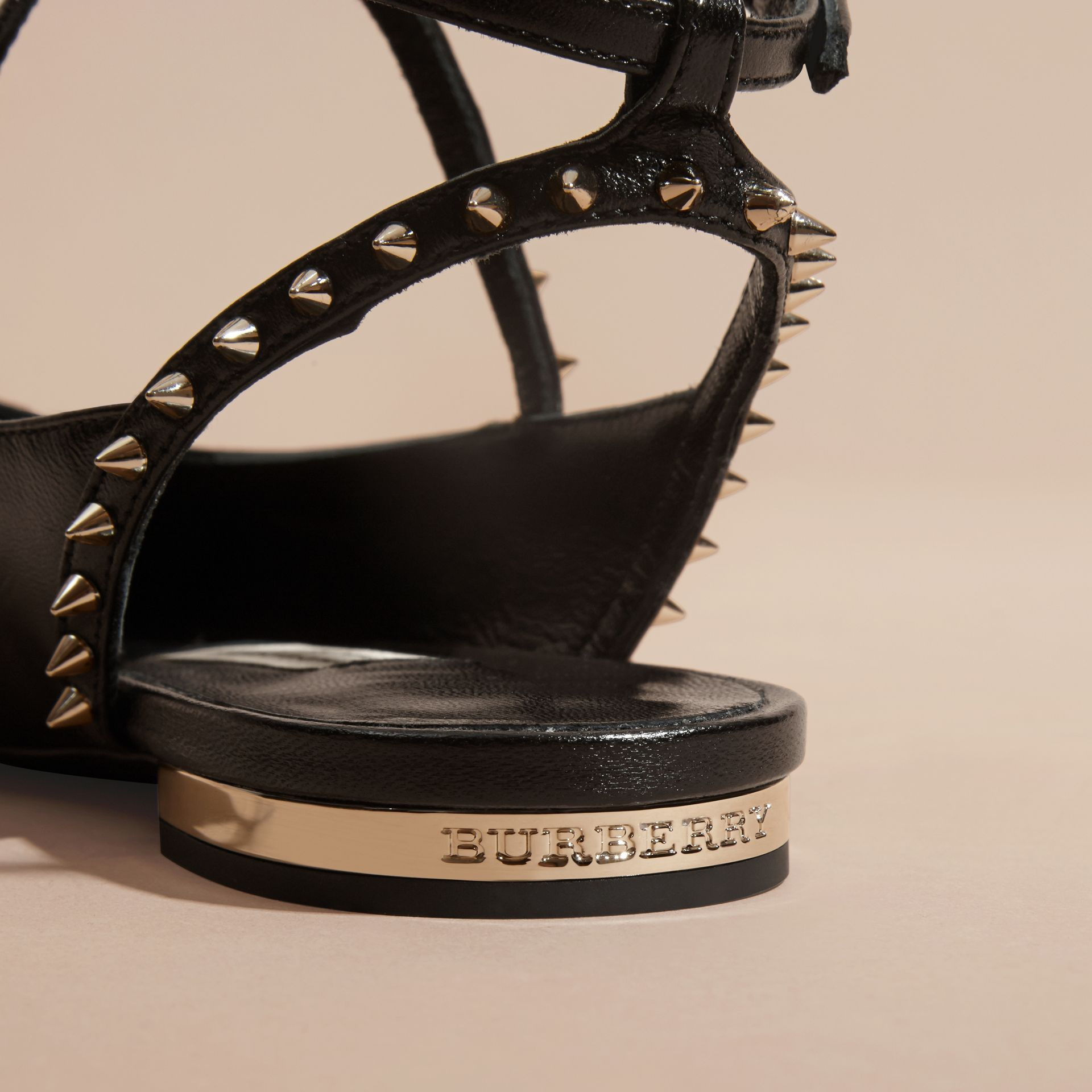 Black Studded Leather Slingback Sandals - gallery image 2