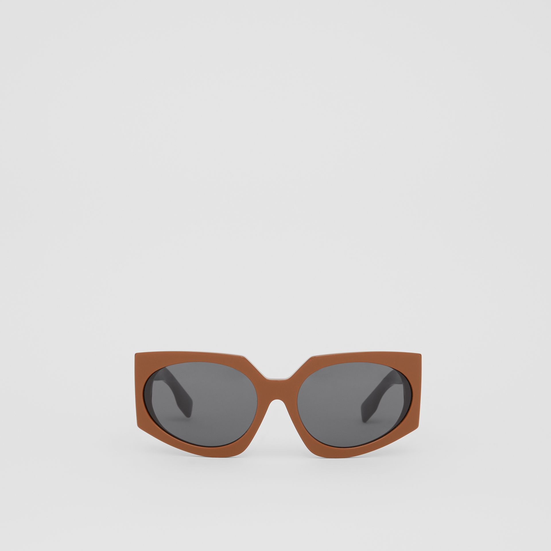 Geometric Frame Sunglasses in Tan - Women | Burberry - gallery image 0