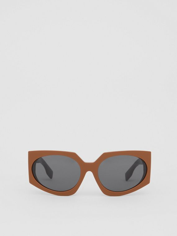 Geometric Frame Sunglasses in Tan