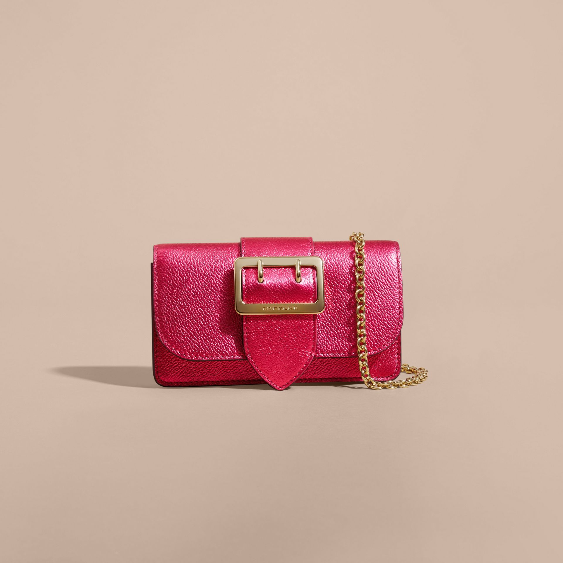 The Mini Buckle Bag in Metallic Grainy Leather in Bright Pink - gallery image 9
