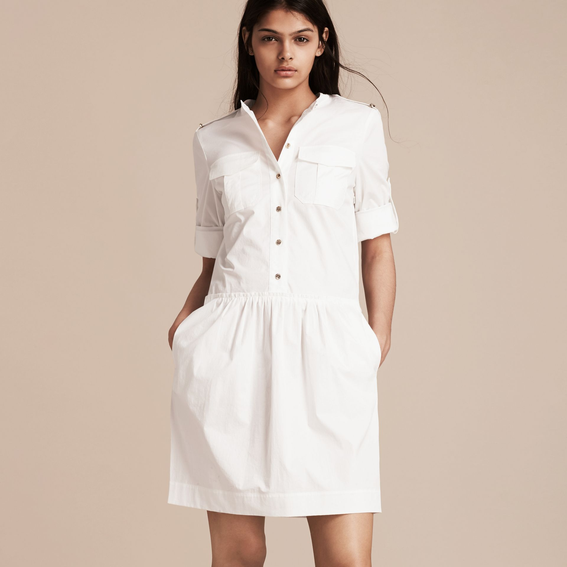 White Military-inspired Cotton Blend Shirt Dress White - gallery image 6